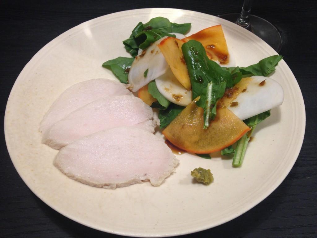 鶏ハムと柿かぶサラダ
