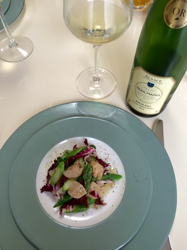 The Scallop and Fava Beans Salad × Alsace Riesling