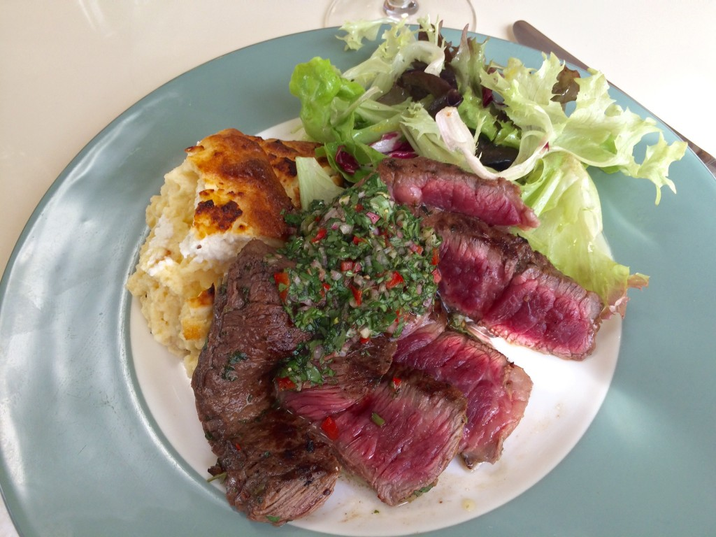 The Grilled Beef Steak with Chimichurri Sauce & Goat Cheese Souffle