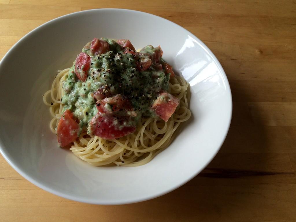 きゅうりとトマトの冷製パスタ