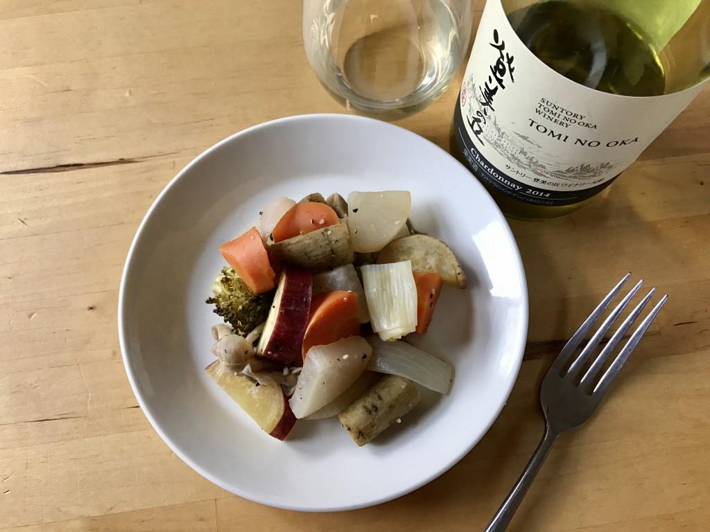野菜の和風エチュベ × 登美の丘 シャルドネ 2014