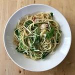【レシピブログ】たこと水菜のわさびバターパスタ × 山梨の白