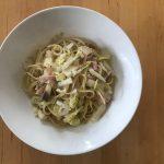 白菜、ハム、エリンギの和風ペペロンチーノ× 山梨の甲州