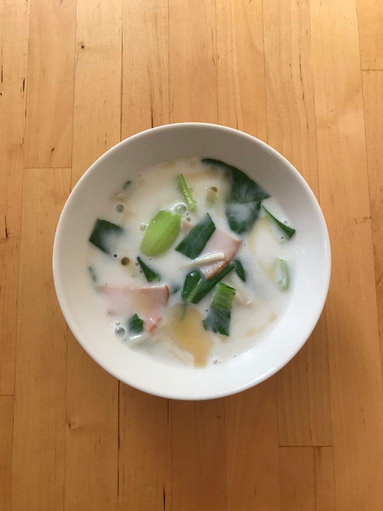 青梗菜のミルクスープ